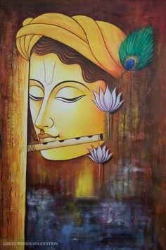 Buy Krishna with Basuri by Community Artists Group@ Rs. - Shop Art Paintings online in India. Ganesha Painting, Buddha Painting, Buddha Art, Online Painting, Paintings Online, Painting Tips, Painting Art, Watercolor Painting, Krishna Art