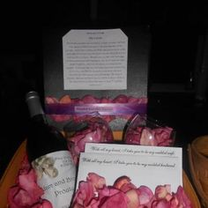 Bride and Groom Time Capsule  For a shower gift, put together a bottle of wine, 2 glasses, and 2 envelopes with the instructions to the couple to each write a letter to the other with all the reasons they fell in love. They are to seal the envelopes and only open them if the relationship falls on hard times or on their 5th wedding anniversary.