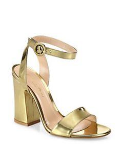 Gianvito Rossi - Tandi Metallic Leather Ankle-Strap Block-Heel Sandals