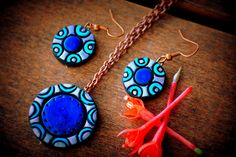 blue green silver terracotta earring and pendant set- polymer clay jewelry-womens jewelry-festive jewelry-party jewelry-statement jewelry by Mithicotta on Etsy