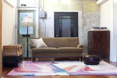 In partnership with Zoë Pawlak, Burritt Bros. Carpet & Floors is launching a line of graphic area rugs inspired by Pawlak's contemporary artwork. Contemporary Artwork, Contemporary Artists, Ocean Rug, Carpet Flooring, Texture Painting, Room Inspiration, Area Rugs, Couch, Colours