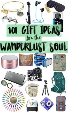 101 Gift Ideas for Wanderlust Souls No, I am not kidding when I say here are 101 GIFT IDEAS for adventurers, wanderlusters, and travellers! See if you can find something you wouldn't have thought of before. Best Travel Gifts, Best Travel Accessories, Travel Themes, Travel Ideas, Travel Tips, Travel Hacks, Travel Stuff, Travel Gadgets, Travel Information