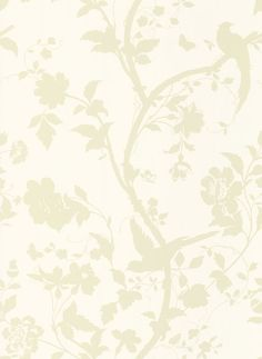 Oriental Garden Gold Off White - Laura Ashley Wallpapers - An elegant, beige trailing floral design featuring birds on a dark cream background. Please request sample for true colour match.