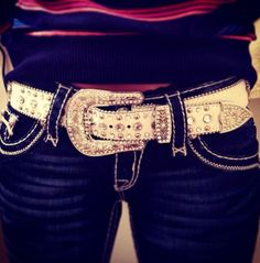 Miss Me's!!! I love a good designer pair!!  Plus that belts is so fabulous!