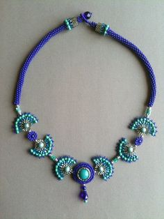 Cobalt and aqua fan necklace, Jeka Lambert
