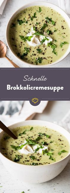 Fast and healthy: Vegetarian broccoli cream Schnell und gesund: Vegetarische Brokkolicremesuppe Prepared quickly and healthy: This broccoli cream soup is not only wonderfully creamy, but is also quickly on your table. Cream Of Broccoli Soup, Cream Soup, Soup Recipes, Vegetarian Recipes, Healthy Recipes, Healthy Soup, Free Recipes, Paleo Soup, Vegetarian Lifestyle