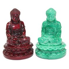 Set of 2 Feng Shui 1 Red  1 Green 2 Meditating Buddha Figurines Peace Luck Prosperity Statues Paperweights Gift Home Decor Housewarming Gift US Seller *** Click for more Special Deals #BuddhaHomeDecor