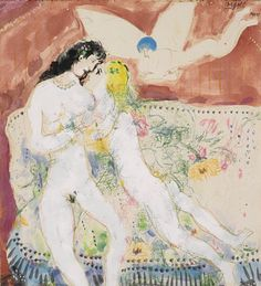 Marc Chagall Mother and daugther 1934-35 #marcchagall #Marc-Chagall #Chagall http://www.johanpersyn.com/chagall-cubist-colours/