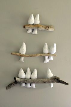 DIY Bird Mobile/Art Piece–a darling white version of this tutorial: www.spoolse… DIY Bird Mobile/Art Piece–a darling white version of this … Bird Mobile, Mobile Art, Driftwood Crafts, Driftwood Ideas, Driftwood Fish, Driftwood Mobile, Driftwood Wall Art, Paperclay, Clay Projects