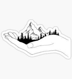 Mountain in Hands Sticker perfect for lindsay