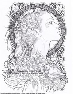 Elvish An art-nouveau-ish commission for the lovely Reine-Haru, who wanted to be a forest elf. Based on her likeness, with the celtic knotwork pattern inspired from designs in this book: [link] Prints available at the Meadowhaven Store