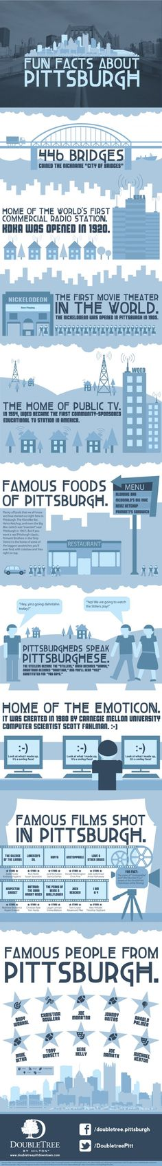 Infographic: Fun Facts About Pittsburgh - While not everyone around the country may realize it, Pittsburgh is the home of many nationally embraced inventions and celebrities. With a long history for innovation and a surprisingly scenic environment given its industrial reputation, Pittsburgh is one of America's best kept secrets, and the DoubleTree Pittsburgh Downtown is right at the heart of it.