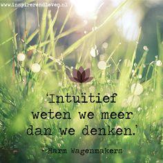 #Wijsheid #Inspiratie #Quote #Citaat - Intuïtief weten we meer dan we denken - Harm Wagenmakers