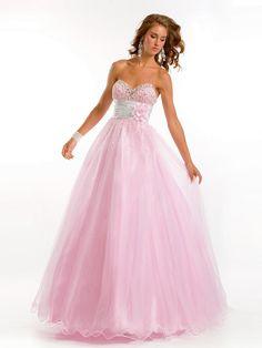 Cheap Strapless Sweetheart Ball Gown Net Elastic Woven Satin Long Prom Dresses