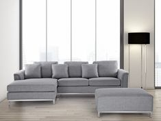 Beliani Oslo Sectional with Chaise Upholstery: Corner Sofa Cushions, Corner Sofa With Ottoman, Sofa Couch, Corner Sectional, Modern Sectional, Corner Couch, Grey Sectional, Room Corner, Sofa Legs