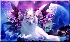 A beautiful wolf angelAll jewels and wolf from google images