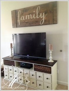 Large sign to fill up space behind the tv