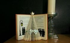 Folded book art - victorian christmas tree handmade cream holly ribbon