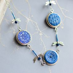 Blue Victorian Button Necklace with Beaded by singlewhitepixel, $120.00