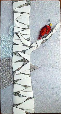 bird on a tree mosaic