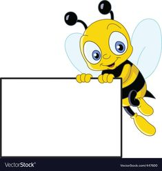 Cute bee with sign Royalty Free Vector Image - VectorStock Bumble Bee Clipart, Bee Pictures, Cartoon Bee, Page Borders Design, Bee Free, School Frame, Kids Background, Islamic Cartoon, Powerpoint Background Design
