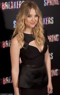 Breaking out the skin: Ashley Benson commanded the attention at the Spring Breakers photocall on Thursday