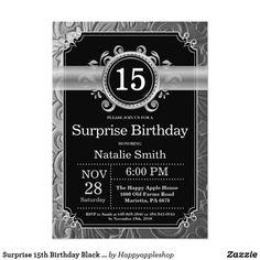 Surprise 15th Birthday Black And Silver Glitter Invitation