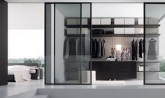 Concepts in wardrobe design. Storage ideas, hardware for wardrobes, sliding wardrobe doors, modern wardrobes, traditional armoires and walk-in wardrobes. Closet design and dressing room ideas. Closet Walk-in, Closet Ideas, Closet Space, Wardrobe Ideas, Closet Doors, Closets Pequenos, Walking Closet, Walk In Wardrobe Design, Glass Room Divider