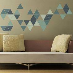 geometric triangles wall sticker from the binary box Geometric triangle wall sticker Wall Stickers Geometric, Geometric Wall Paint, Diy Home Decor, Room Decor, Triangle Wall, Kids Wall Decals, Cool Walls, Diy Wall, Wall Art