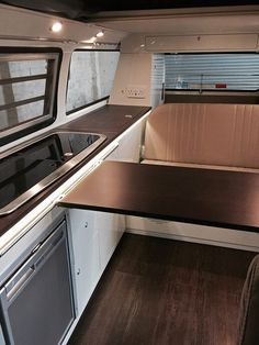 VW T2 interior with wenge worktops and gloss lacquered finish