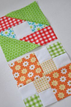 Block 1 and Block 2 in book. Fabrics: Red and Green Gingham = Michael Miller Picnic Orange Sunflower = Riley Blake Green with Circles = Riley Blake Turquoise with Daisy = Michael Miller Petal Power] Yellow Gingham = ?