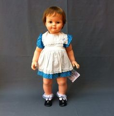 """Ideal Saucy Walker is 32"""" tall. She was made in 1960. Saucy is part of the Play Pal family. She wears 2T clothing. Z"""