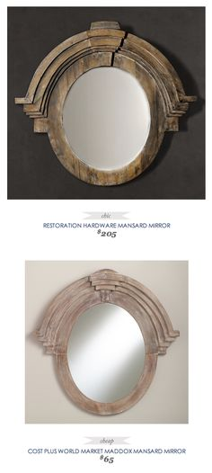Restoration Hardware Mansard Mirror $205 - vs - Maddox Mansard Mirror $65  - Bathroom or Foyer