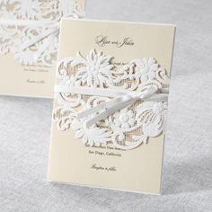White Laser Cut Wrap with Ribbon by B Wedding Invitations