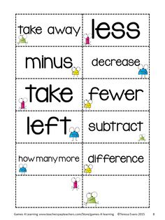 FREEBIE- Addition and Subtraction Key Word Cards for sorting and discussion - from Addition and Subtraction Key Word Posters Freebie by Games for Learning Teaching Subtraction, Teaching Math, Maths, Teaching Ideas, Daily 3 Math, Daily 5, 1st Grade Math, Second Grade, Math Resources