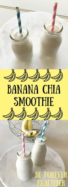 This tasty Chia Banana Smoothie is filled with budget-friendly & healthy ingredients. A banana yoghurt smoothie makes a filling breakfast or snack. Chia Smoothie Recipe, Smoothie Fruit, Breakfast Smoothie Recipes, Smoothies For Kids, Apple Smoothies, Healthy Breakfast Smoothies, Banana Breakfast, Green Smoothies, Breakfast Ideas