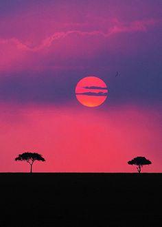Sunset at Maasai Mara, Kenya amazing colours. hmmmm serenity