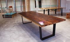 wooden restaurant tables | Reclaimed wood table | Restaurant Design Ideas
