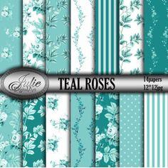 Teal digital paper Floral digital paper Teal background Floral background Instant download
