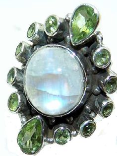 Peridot and moonstone cocktail ring in silver