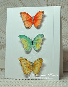 Hello, my friends. There's a new challenge at CAS Watercolour Here's my card..... I love the butterflies in the Flora and Fau...