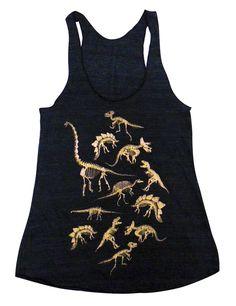 Dinosaur Tank Top  Fossils Dino Skeletons Print on by friendlyoak, $18.00
