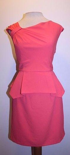 Minuet Anthropologie Dress M Coral Orange Pleated Shoulder Peplum Waist Dress…