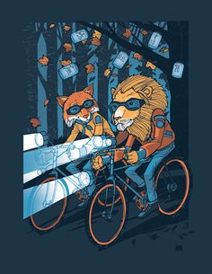 Lions and foxes ride bikes with lights all the time where I'm from. True story.
