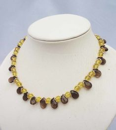 Items similar to Smoky Quartz Necklace, Quartz Necklace, Brown and Yellow Necklace, Gemstone Necklace in Brown and Yellow on Etsy Smoky Quartz Necklace, Hematite Necklace, Beaded Necklace, Jade Earrings, Butterfly Earrings, Yellow Necklace, Quartz Jewelry, Wire Wrapped Necklace, Blue Gemstones