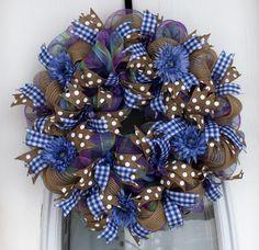 Country Blue Summer Deco Mesh Wreath