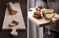 Dutch design studio Ooms, The Puzzle board Serving Board, Serving Plates, Diy Cutting Board, Wood Cutting, Wine Glass Holder, Kitchen Essentials, Food Design, Wood Crafts, Puzzles