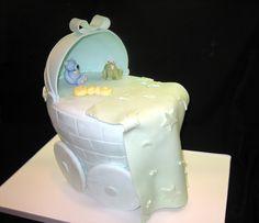 Amy Beck Cake Design - Chicago, IL - Blue Baby Carriage Baby shower cake - #amybeckcakedesign