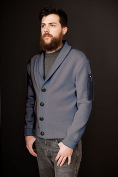 Wool Draftsman jacket. Garment dyed, grey. Knit and sewn in our factory today. $300