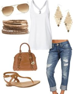Total simple blue jeans and basic white tank, dressed up with accessories!